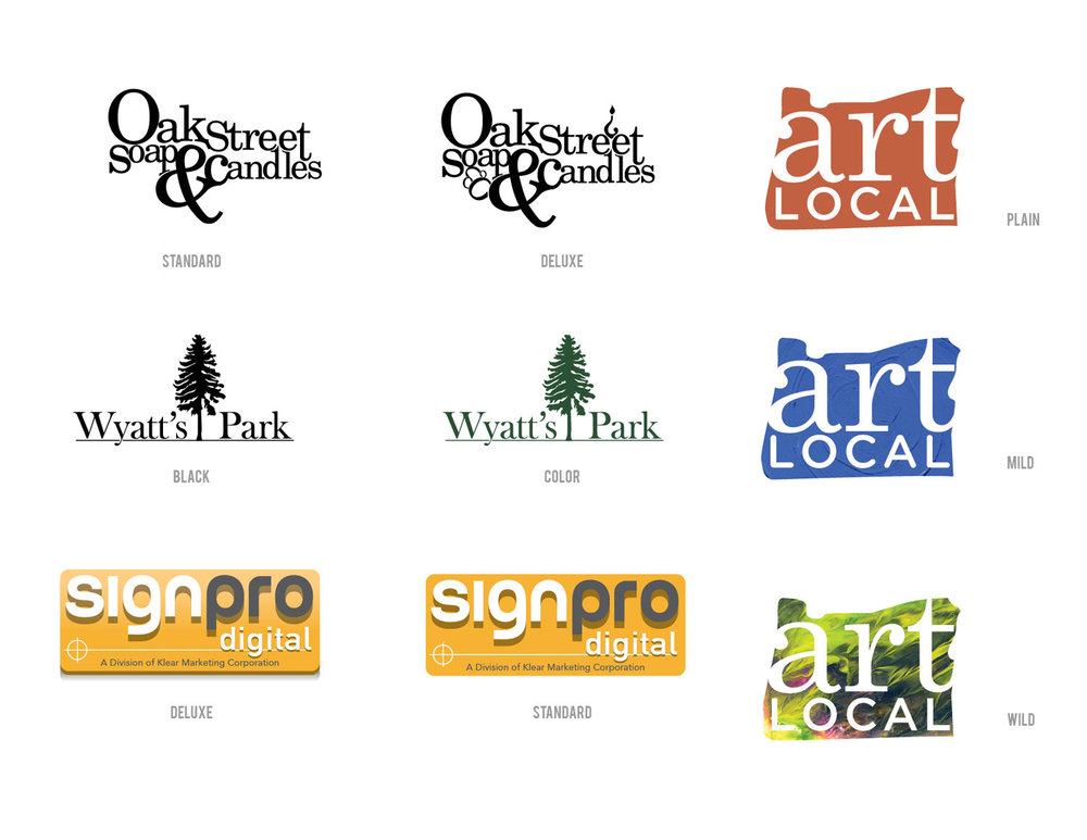 Assorted Logos -   Various logos and their respective variations for client use.  Oak Street Soap & Candles  was a type-based logo reflecting the quirky, fun products that were produced.  Wyatt's Park  was created quickly for a new, upscale housing development.  Sign Pro  was a temporary logo, after the business was acquired by Klear Marketing.  Art Local  was created for promotional use by the Ford Gallery, and PDX Magazine. Three color variations were included.