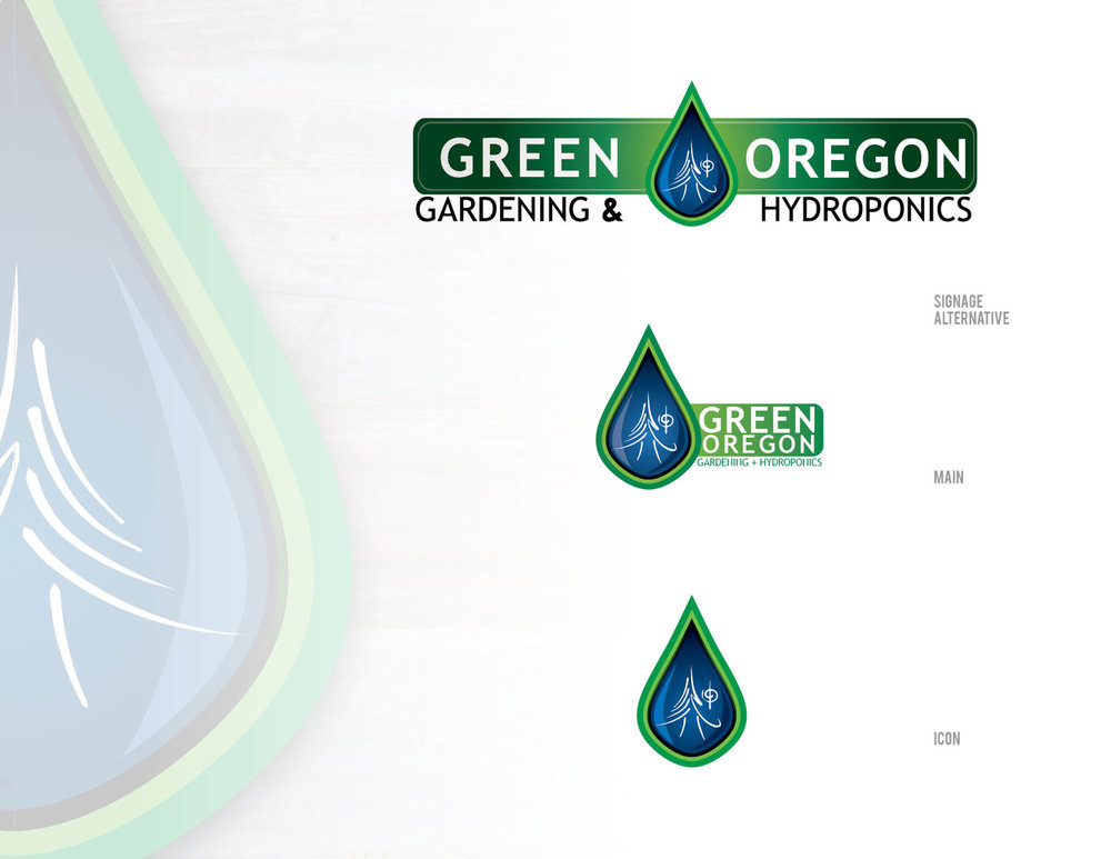 Green Oregon -  The client requested the use of a previously designed element; the tree in white. Any logo had to incorporate the tree. This solution was also designed with several versions for use on signage, window graphics and stationary. The tear drop could be used as a standalone icon for social media, or a design element.