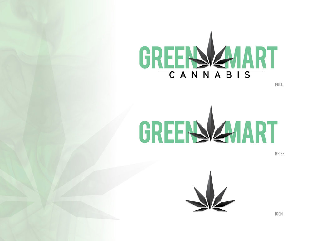 Green Mart -  New logo created for a cannabis dispensary. The logo was intently designed to broken up as needed. Several versions were created for various uses. The icon was specifically designed for use as a social media icon, and well as a useable design element in branding. The icon was also used as a router cut dimensional stand-off in the store location. Leafly.com rated Green Mart as #1 Cannabis Dispensary in Oregon 2017.