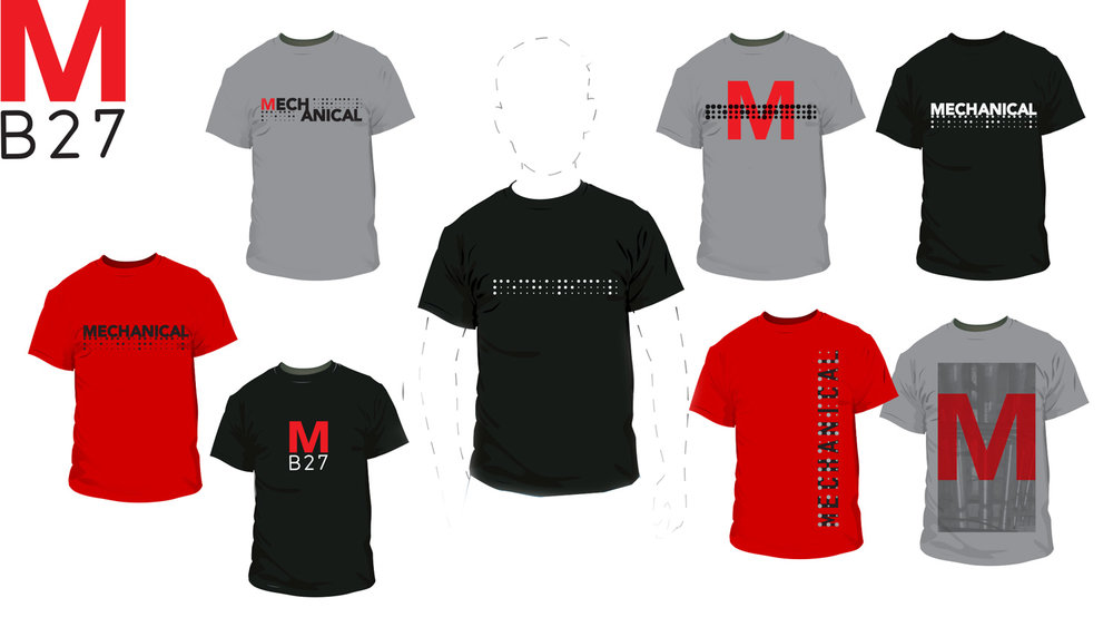 Mechanical T-Shirts -  Initial batch of logo T's. A little on the plain side; these were using graphics from stickers, cards, and social media posts.