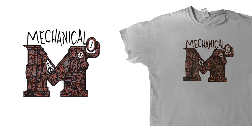 Mechanical T-Shirt -  The final Mechanical T-shirt. The graphic is based off of a pencil drawing, a cleaned up vector graphic was created and colorized. After a few variations, this was the final graphic for production..
