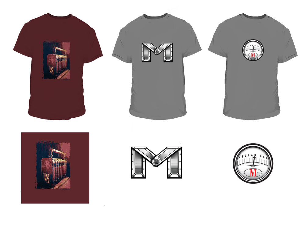 "Mechanical T-Shirts -  More duds based on drawings or photos. On the left is the ""Wishing Boiler"", the boiler(s) are a prominent feature of Mechanical. In the middle is the vectorized version of a drawing featuring another variation of the ""M"". On the right is the ""Gauge"". Purely a vector drawing, drawn in Illustrator, no inital sketch."
