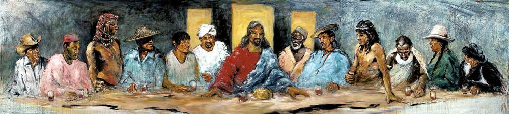 Hyatt More: The Last Supper with Twelve Tribes, acrylic and oil on canvas, 20ft. x 4 ft. 6in.