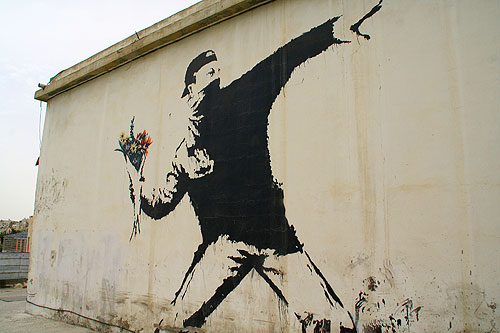 "Banksy Rage  (grafity artist)  ""Flower Thrower"" - Jerusalem, Israel"