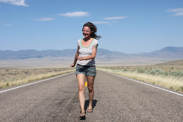 Me on road trip through the US July 2016 running down hghway 50 aka the LONELIEST road in america.