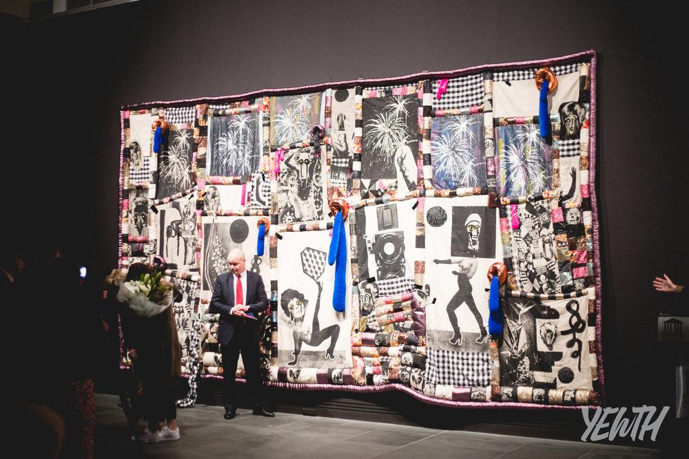 Sarah Contos Presents: The Long Kiss Goodbye , Sarah Contos,screenprint on linen, canvas and lame, digital printed fabrics, various found fabrics, PVC, polyfil, glass, ceramic, plastic beads, thread, artists' gloves, 2016