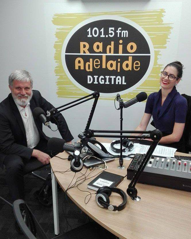 Breakfast presenter Jennie Lenman on air with with Associate Professor Paul Willis. Photo: Radio Adelaide