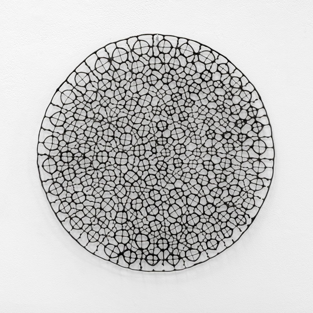 Ursula Halpin, An lub ar lár series (the dropped stitch series), 2016, pâte de verre, kiln formed bullseye glass, 40x40cm, photo by Grant Hancock