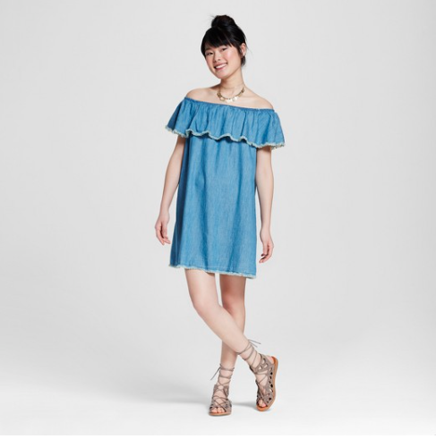 Off the should denim dress