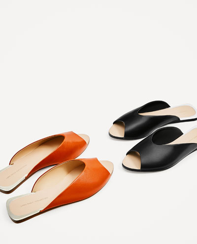 V cut leather slides