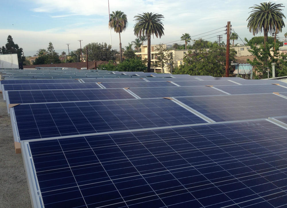 Solar panels in place for installation following the first day of construction at Covenant Presbyterian Church in Long Beach.