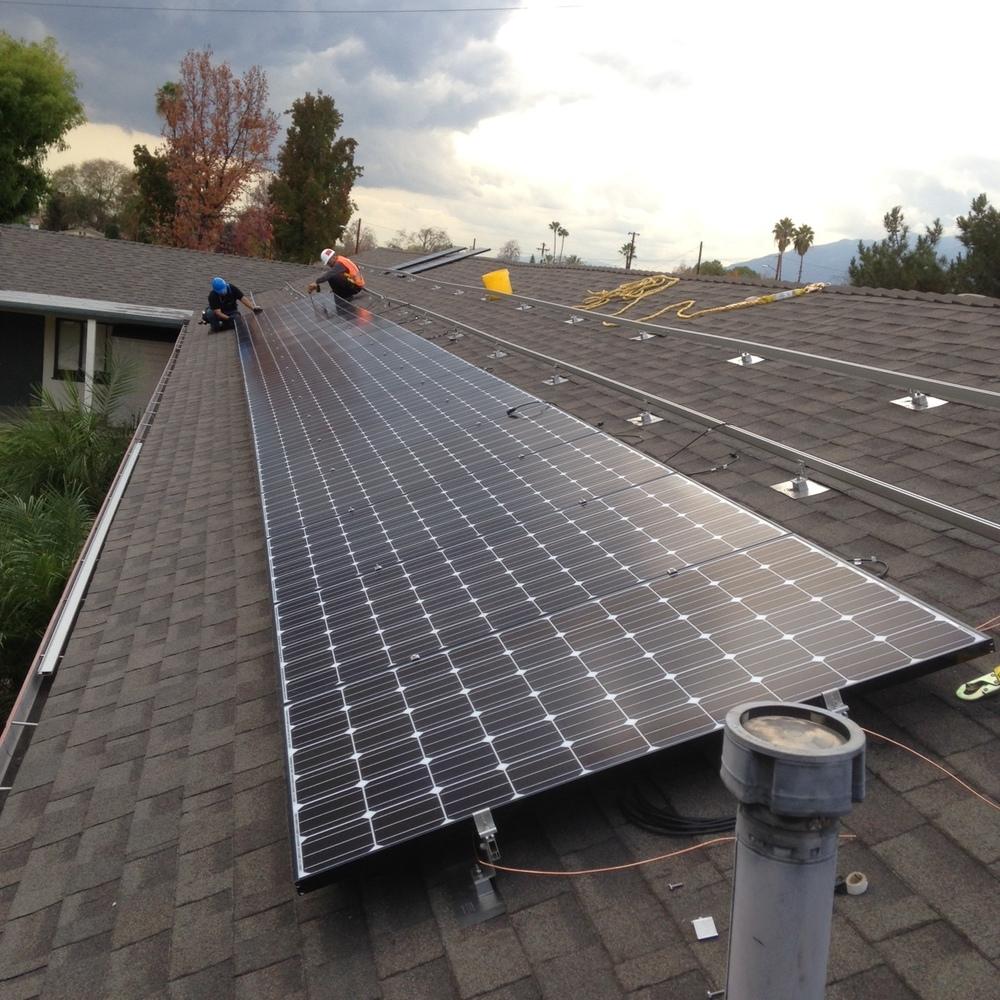 Sunistics Group installation crew members working at Village Covenant Church, Azusa, CA.