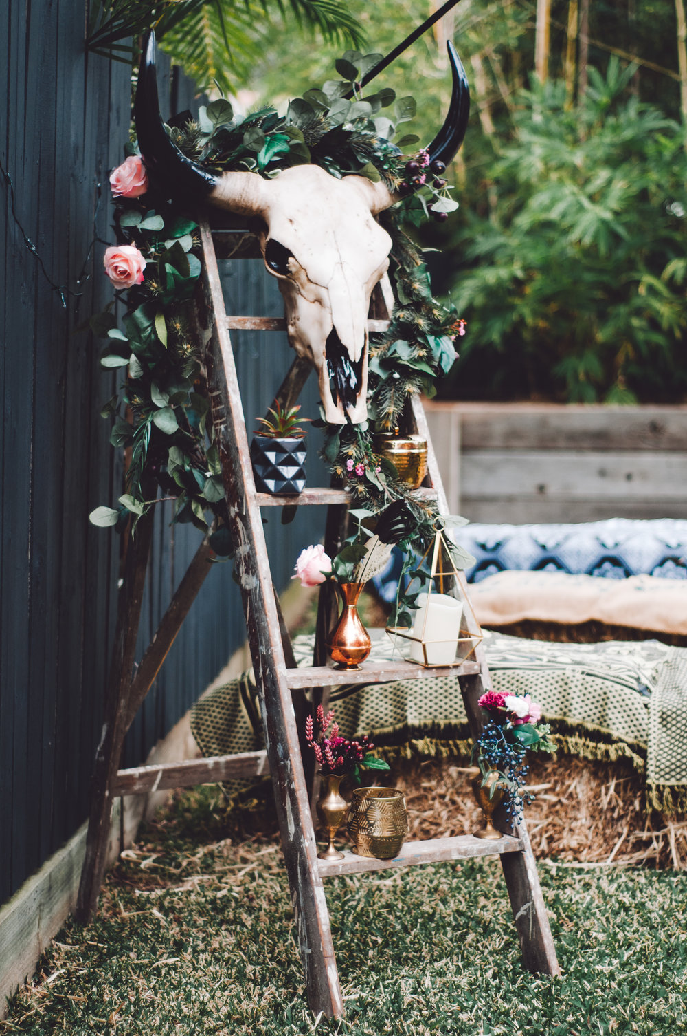 Lovelenscapes Wedding Photographer Destination Wedding Photographer Australia Boho Backyard Wedding Bull Skull Copper Wedding Accessories
