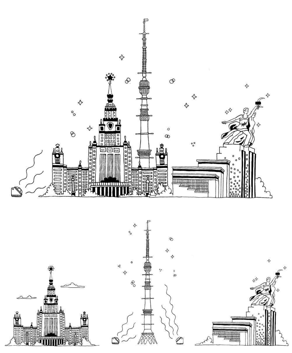 moscow famous places line art logos