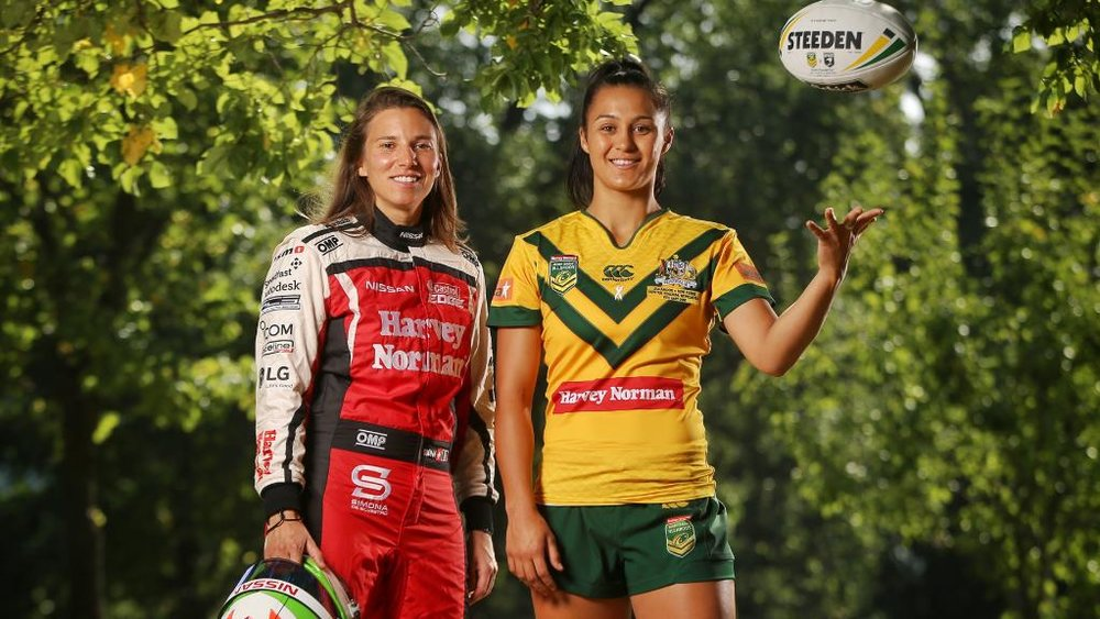 Supercar driver Simona de Silvestro (left) and Australian womens' rugby league player Corban McGregor are helping to change the face of sport. Picture: Hamish Blair