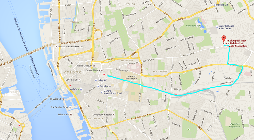 The route we took to get from Liverpool Lime Street station to the Meat & Fish Market