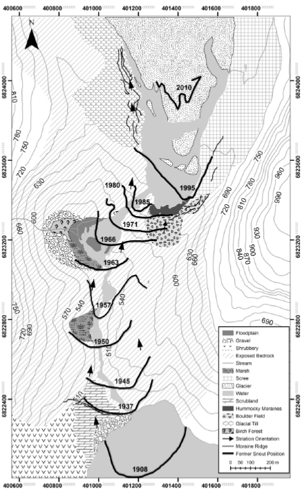 Figure 4. Geomorphological map of Tunsbergdalsbreen. Credit: Al Smith 2011.