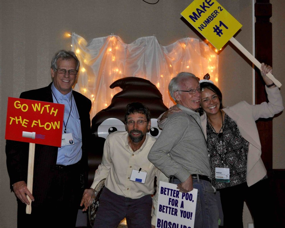 "Staff of the leading regional biosolids groups celebrate decades of success at NW Biosolids' ""BioFest,"" Oct. 2017. L to R: Greg Kester, CASA; Ned Beecher, NEBRA (20 years old); Bill Toffey, MABA (20 years old); Maile Lono-Batura (30 years old)."