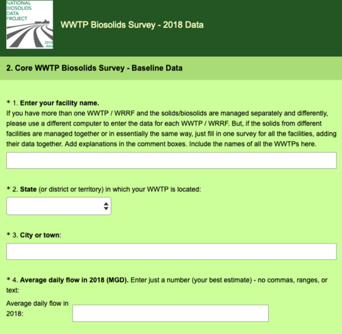 What WWTP Survey looks like