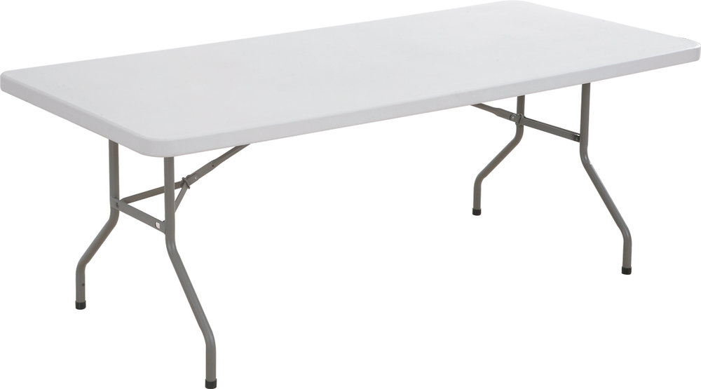 6ft Trestle Table - The 6ft plastic trestle tables are popular with customers due to their large size and easy to clean plastic top. It is ideal for use as a retail display table, or catering table along with many other uses. This 6ft folding plastic trestle table is also used frequently at markets, fetes, exhibitions and other similar events.Materials: White plastic easy clean top/steel legs and frameSize: Length 6ft x Width 2ft 6