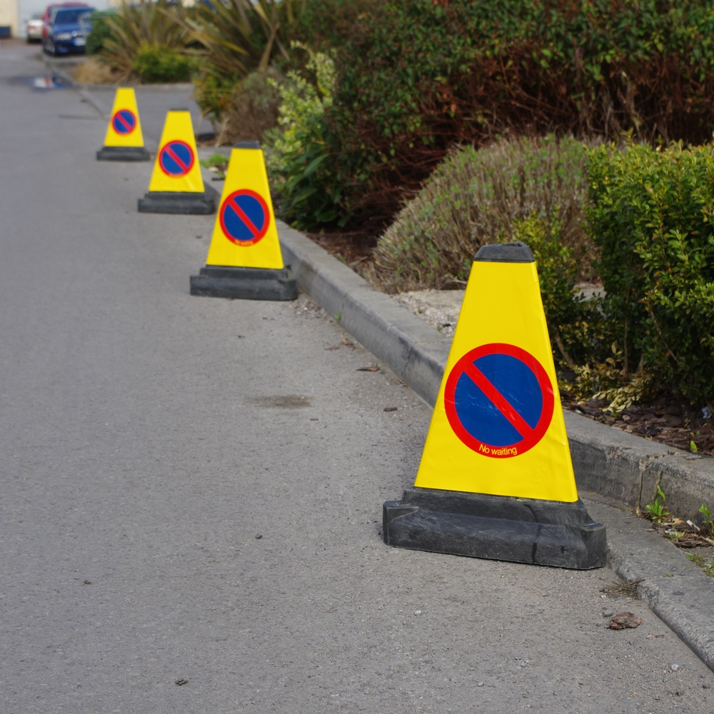 No Waiting Cones - Prevent illegal parking in restricted and dangerous event zones using our high visibility, self-weighted, no waiting traffic cones. Unauthorised parking can see significant accidents occur, endangering the lives of motorists and pedestrians alike.> PRICES FROM £6.00