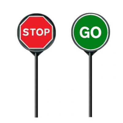 Stop & Go Boards - Manual Rotating Stop/Go Signs which are compliant with current legislation,ideal for controlling traffic for short period of times> PRICES FROM £10.00