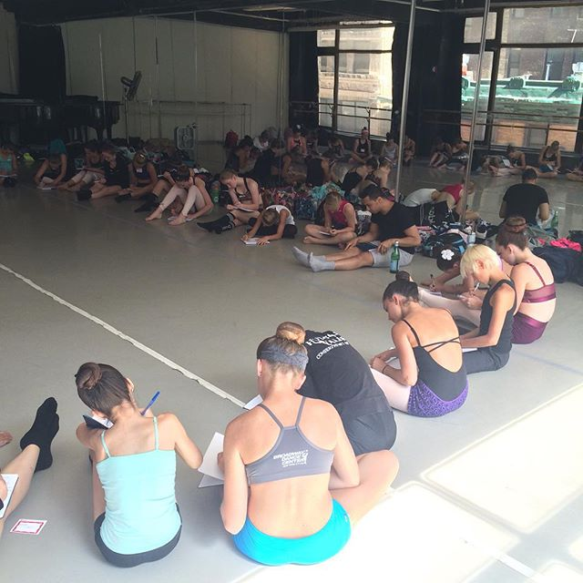Setting goals with the students of the Summer Dig! A FULL intensive with 40 students. We are so excited to dive in with these dancers. #pushingprogress #contemporarydance #finetuningminds