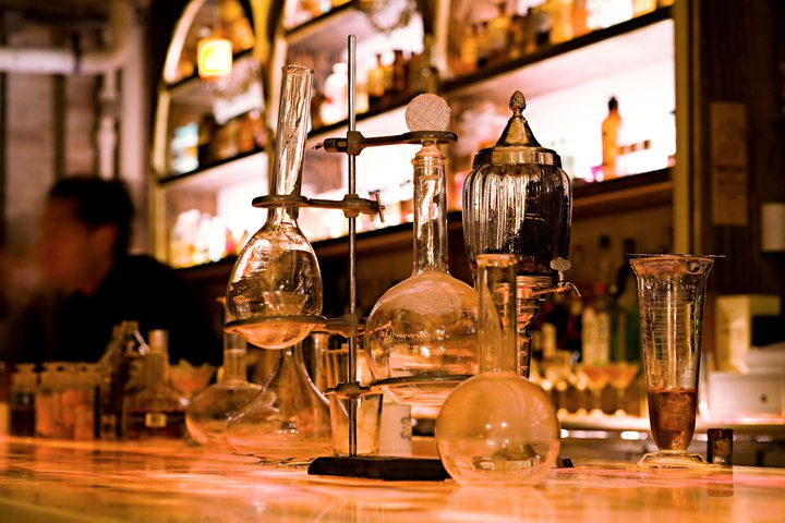 Cocktail lounge meets lab vibe at Apotheke | Photograph Courtesy of Apotheke