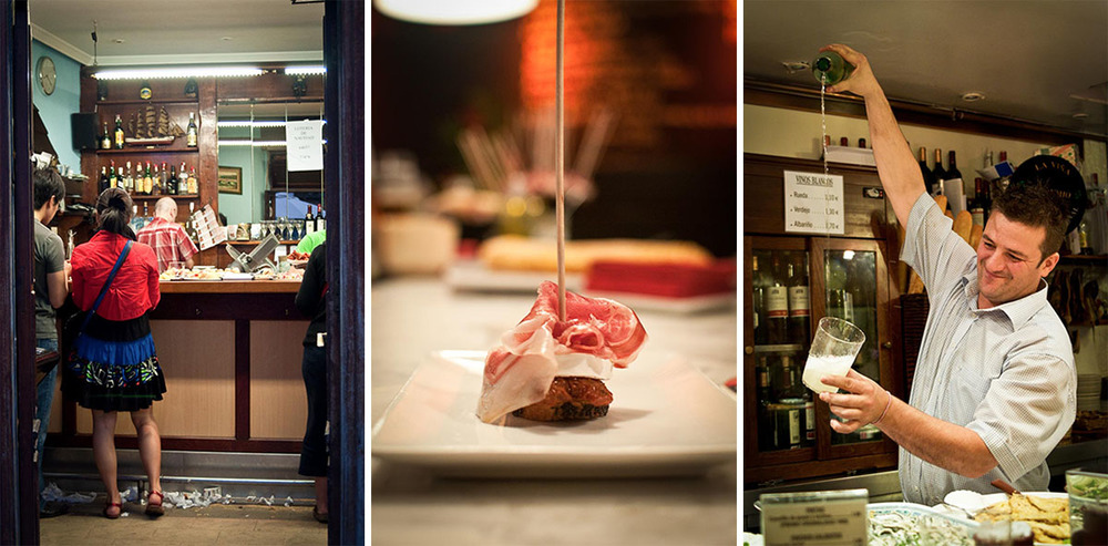 Napkins on the floor at a pintxos bar | Jamon Pintxo | Traditional Txakoli Long Pour | Photo Credits: Find. Eat. Drink.