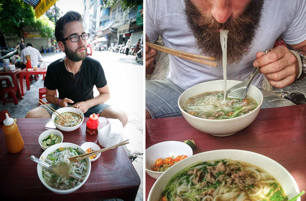 Lucas Benoit (Photo Credit: Dylan Benoit) | Dylan Benoit Slurping Pho (Photo Credit: Lucas Benoit)