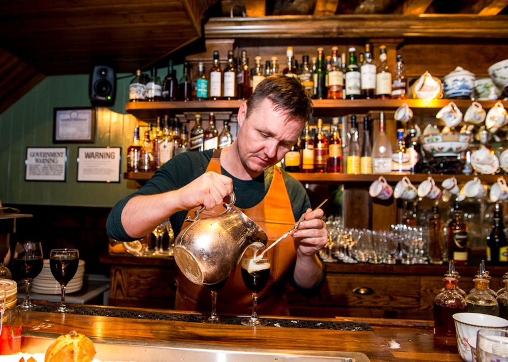Dead Rabbit bartender Sean Muldoon making Irish Coffees | Photograph courtesy of The Dead Rabbit