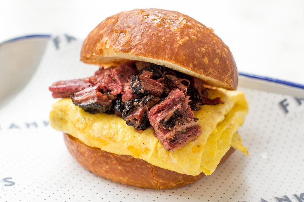 Pastrami egg and cheese| Photograph courtesy of Frankel's