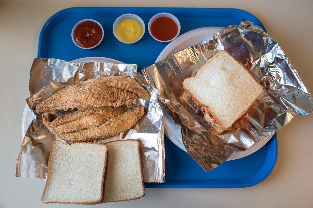 Fried Catfish & BBQ Pork Sandwich at Lannie's Bar-B-Q Spot | Photo Credit: ©Find. Eat. Drink.
