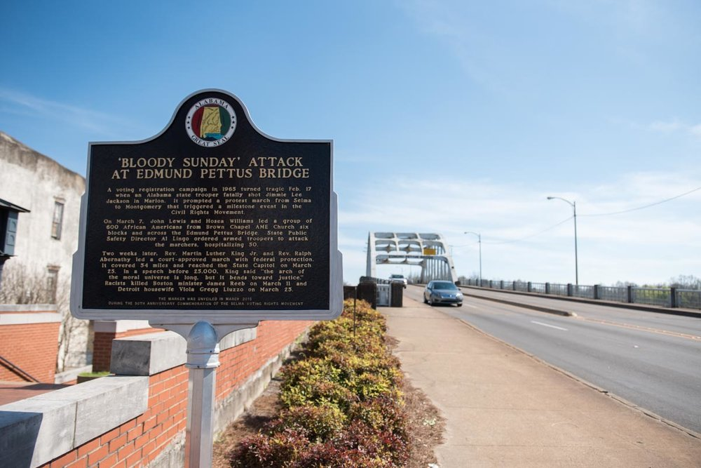 The historical Edmund Pettus Bridge in Selma, AL | Photo Credit: ©Find. Eat. Drink.