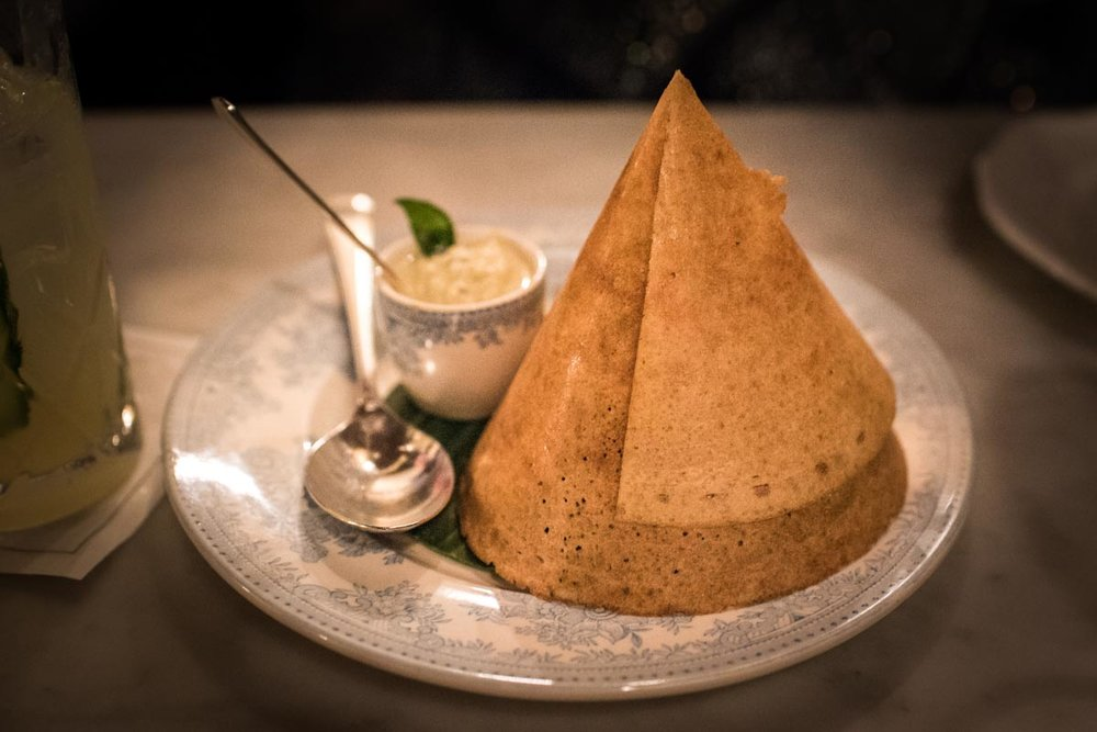 Dosa with Chettinad Duck, and Coconut Chutney