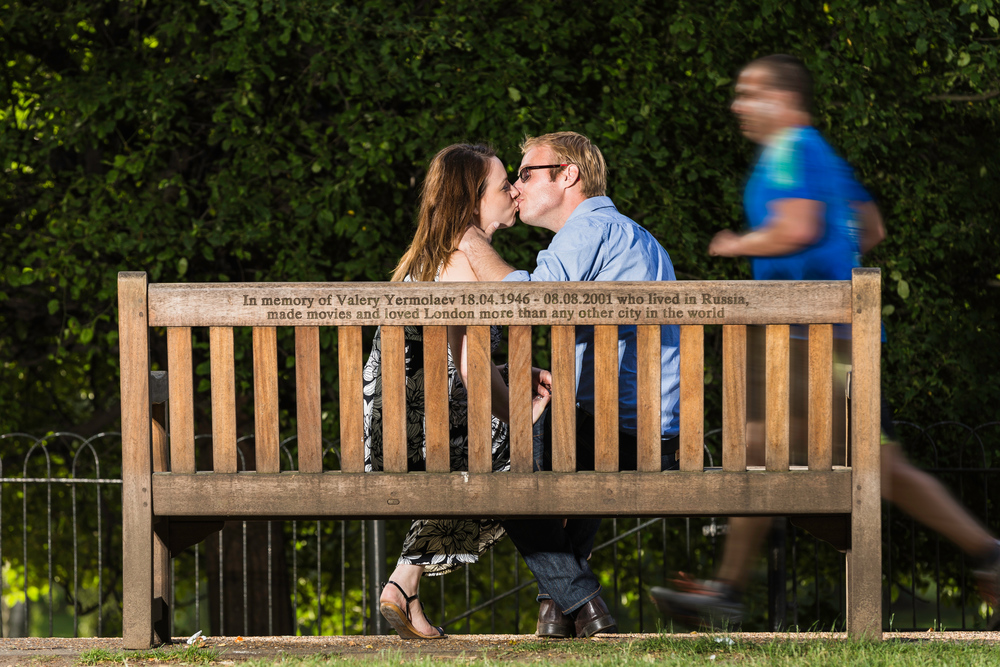 We ended the session in St James Park in London, While I was setting up a light marc and sarah took a break from all the walking, I quickly saw this grabbed my camera and captured this candid shot of them kissing.