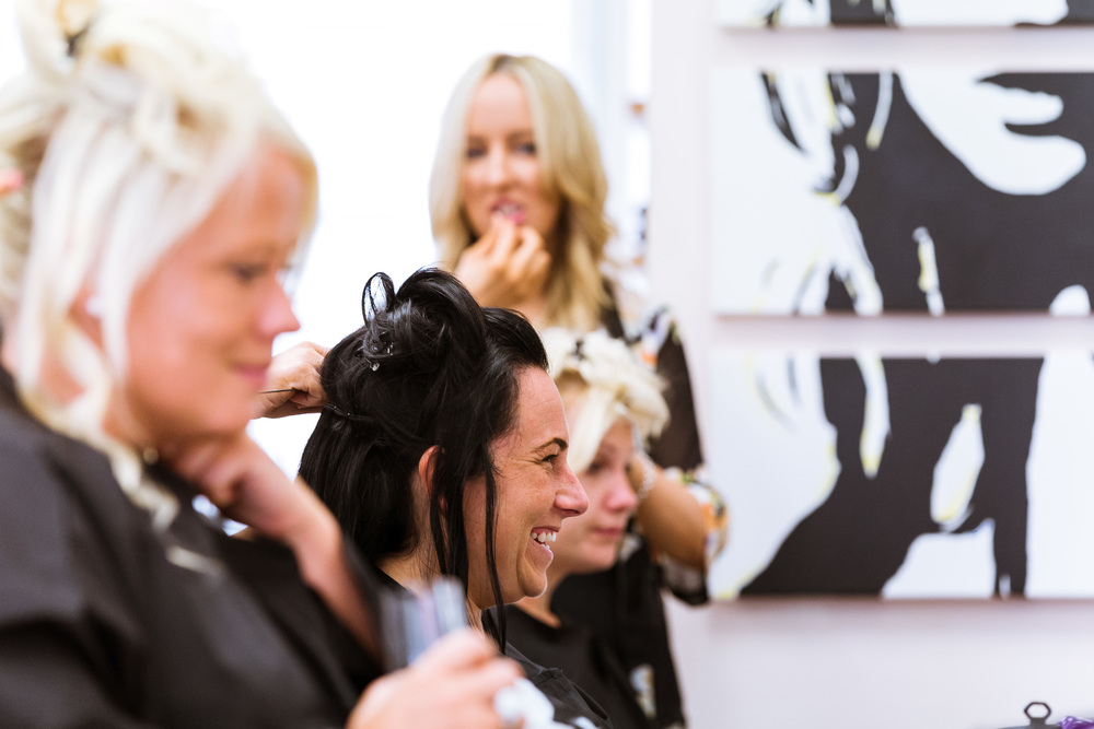Bridal Prep, four of the girls getting their hair done in a salon before the ceremony in canterbury