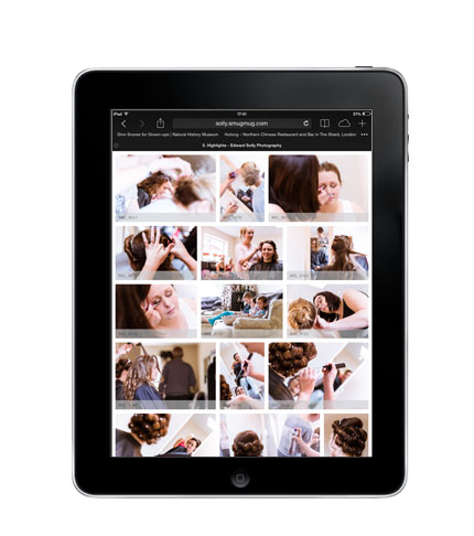 What a gallery of images looks like on an ipad