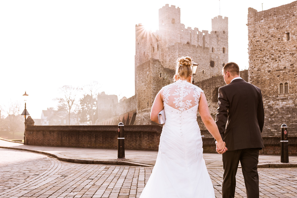 Kent - Wedding - The Friars - Rochester Castle - Couples Portrait- Chris & Katie - Walking into the Sunset
