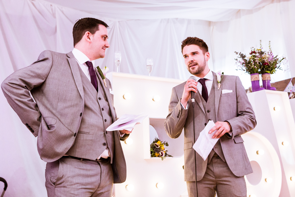 Best men talking about the groom at verity and robs wedding