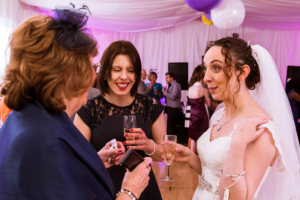 Guest photos at the wedding reception in kent