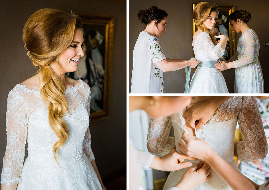 Getting into a Wedding Dress, Happy Bride