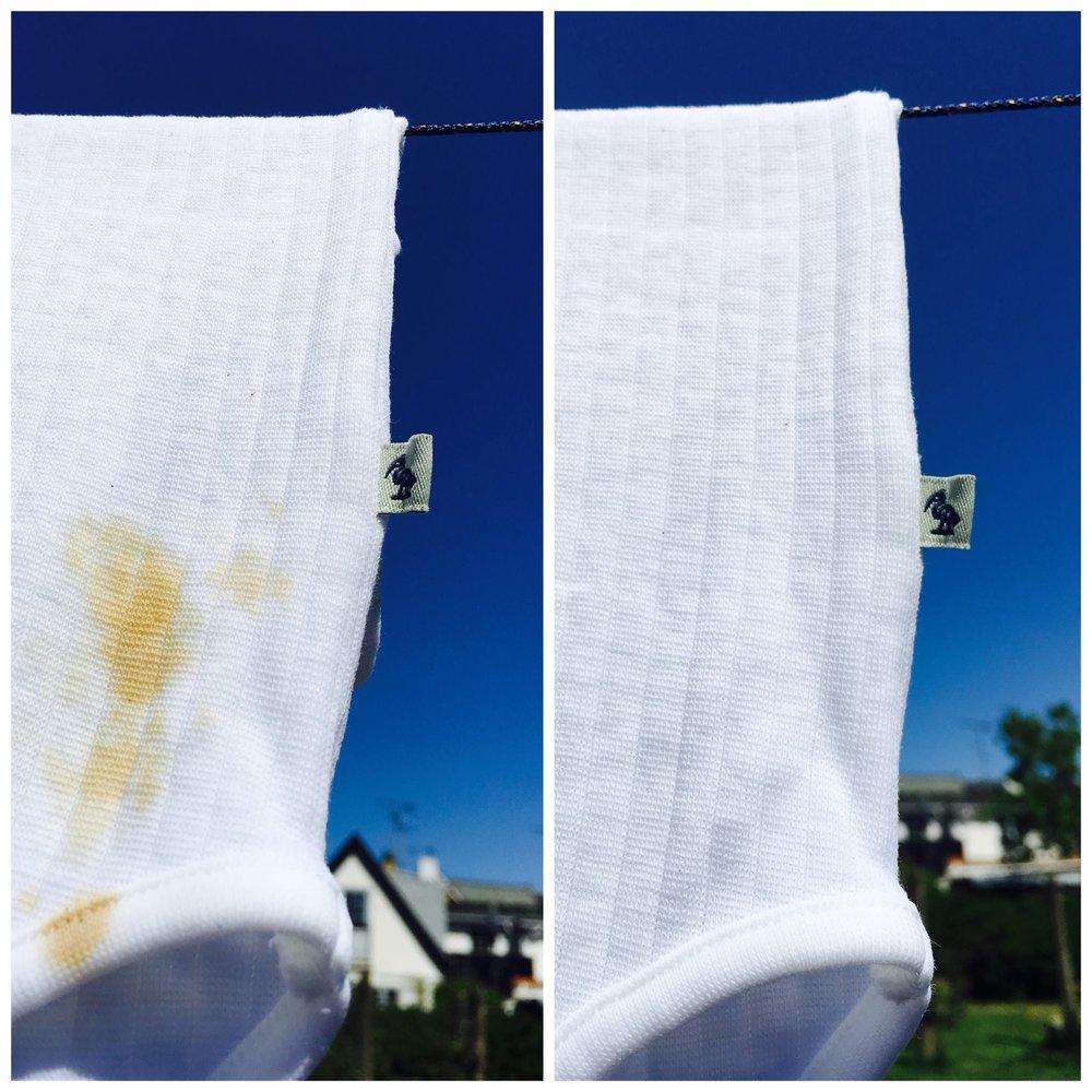 Vores yndlings-pletfjernings tip!Hvis du har fået en genstridig plet på dit eller dit barns tøj, så prøv det her: Vrid tøjet op i vand, dup sulfo på og så ellers bare ud i solens stråler eller en lys vindueskarm. Det er ren magi!