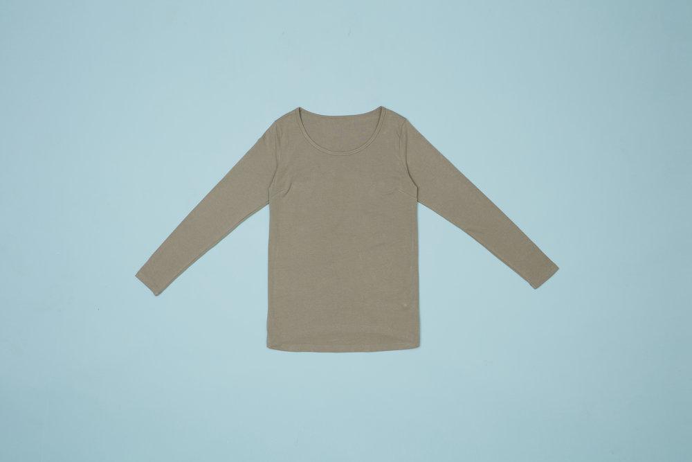 Langærmet t-shirt, taupe