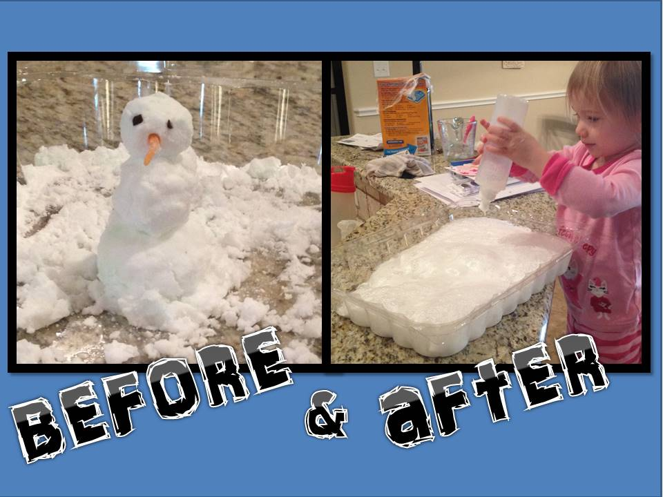 Our little snowman and his foamy remains after the vinegar got the best of him!