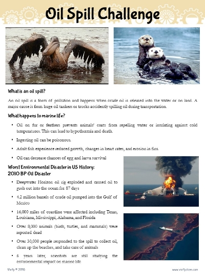 One of the pages included in Vivify's Oil Spill Challenge product. Click for more information.