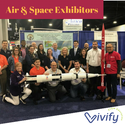 Exhibitors that represented various aviation and space companies. Can you spot Vivify?