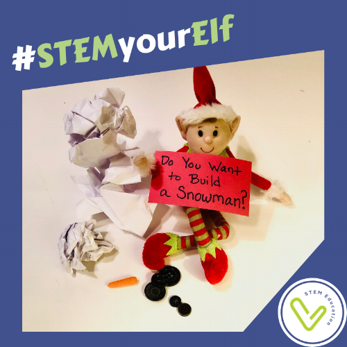 STEM your Elf on the Shelf by helping him build a snowman.