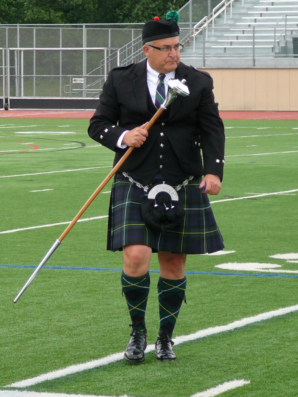 Drum Major Doug Weisheit marching off the field after his 1st place victory.