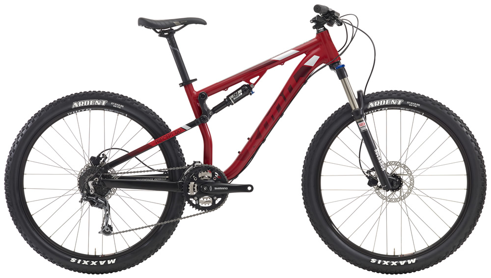 """Precept 120, $1599 (27.5"""" wheels) Designed specifically for riders looking to step off of their hardtail and dive deeper into Trail riding. Taking design cues from our Process line, the Precept 120 offers a comfortable, confident, pedal-friendly frame design that's fun on trails ranging from smooth to technical."""